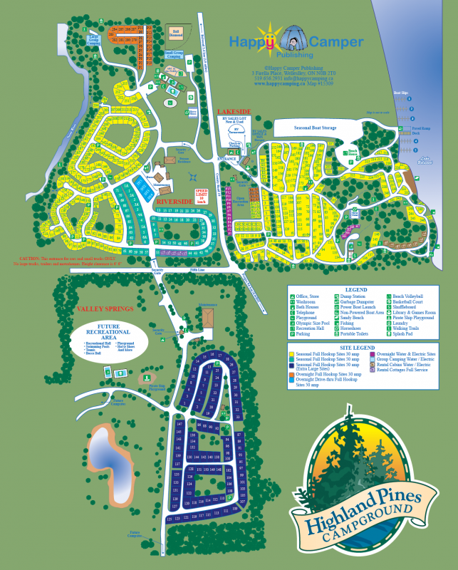 Website Site Map: Highland Pines Campground