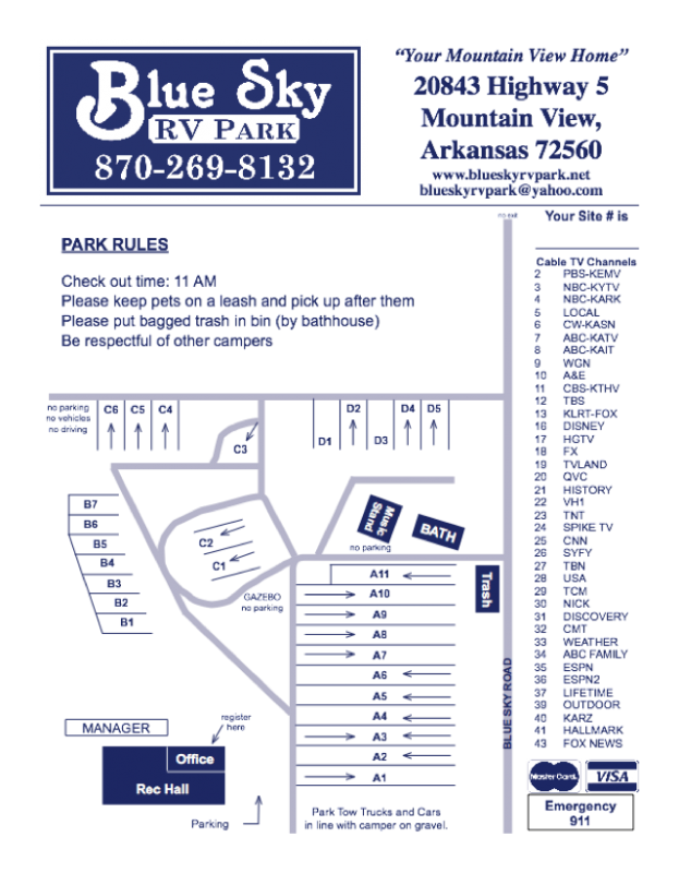 Blue Sky Rv Park - Mountain View, AR - RV Parks