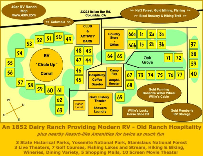 49er RV Ranch - Columbia, CA - RV Parks