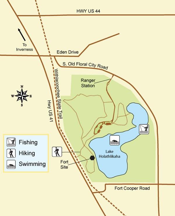 Florida State Parks Map.Fort Cooper State Park Inverness Fl Florida State Parks