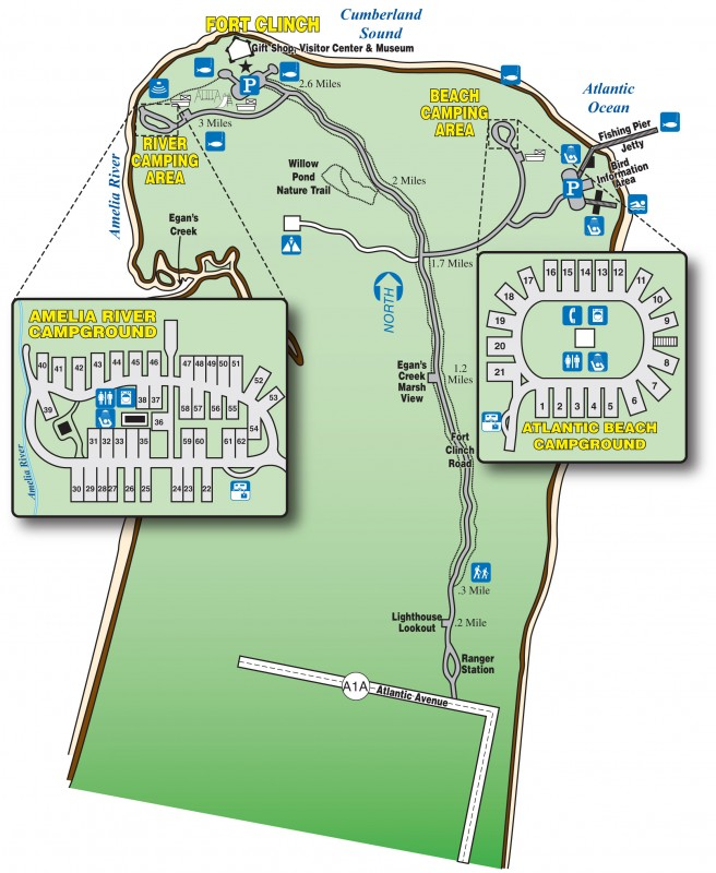 Florida State Parks Camping Map.Fort Clinch State Park Fernandina Beach Fl Florida State Parks