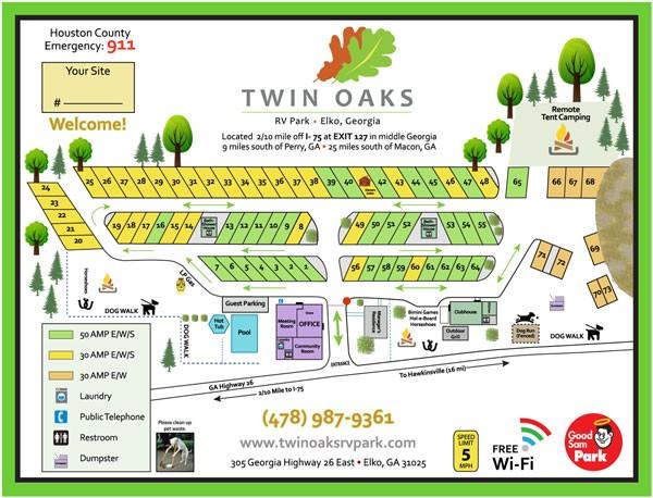 Twin Oaks RV Park - Elko, GA - RV Parks