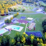 Rec center, pool from a drone
